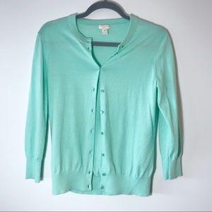 J. Crew Mint Green Claire Button Cardigan Size M